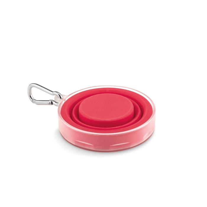 Cadeau publicitaire santé - Tasse pliable silicone avec pilulier Pill