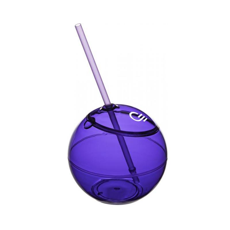 Ballon Fiesta avec paille - verre publicitaire