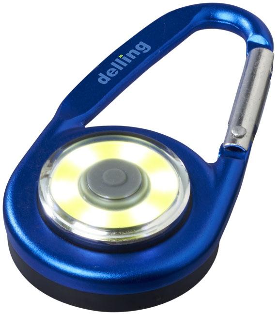 Mousqueton avec lampe publicitaire COB Eye bleu