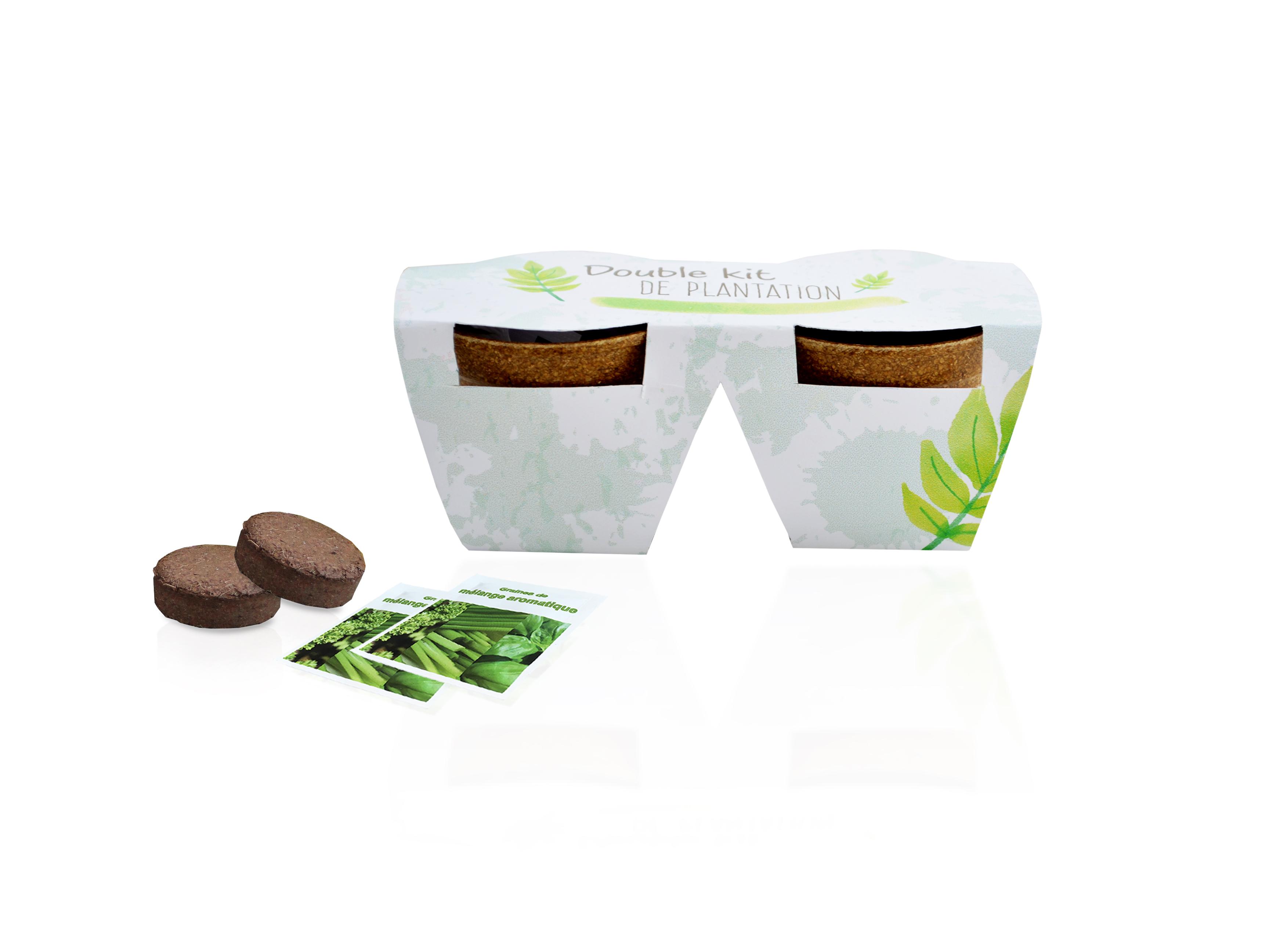 Objet publicitaire écologique - Double kit de plantation écolo - 2 Pots en paille de riz 6 cm