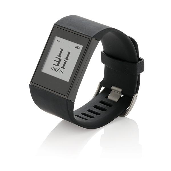 Bracelet connecté publicitaire E-ink Multisport noir - cadeau publicitaire high-tech