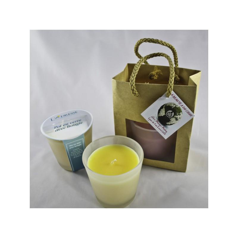 Bougie déco avec adhésif + sac kraft + papier soie