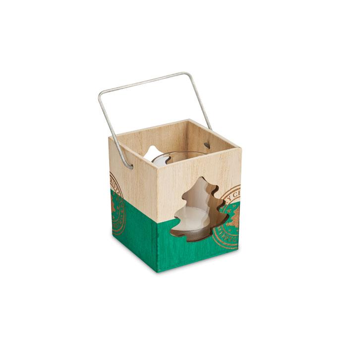 Goodies Noël - Photophore en bois avec bougie