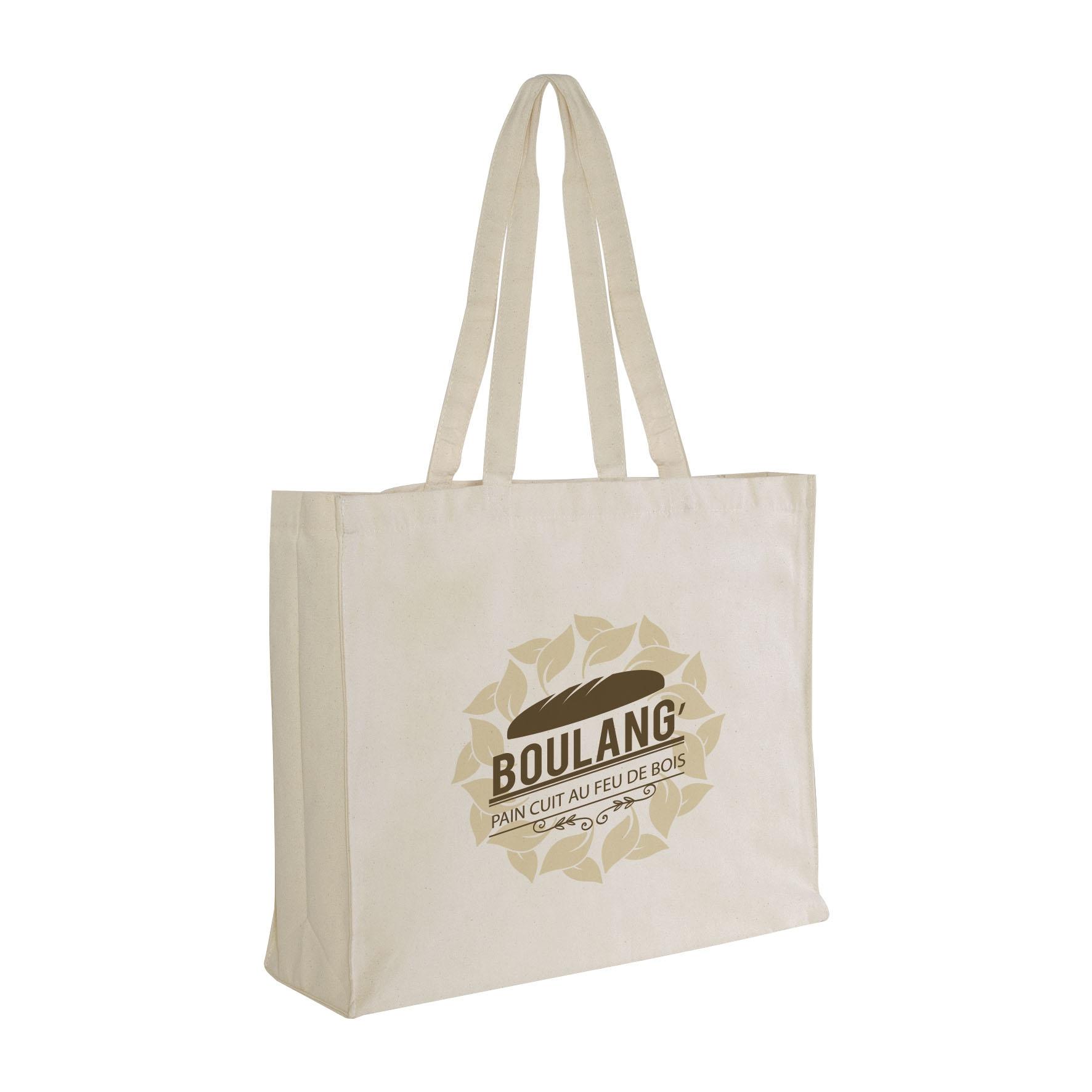 Sac shopping publicitaire écologique coton canevas Large - Sac shopping personnalisable - noir