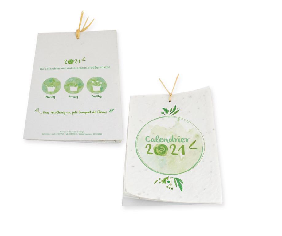 Calendrier en papier à graines personnalisable
