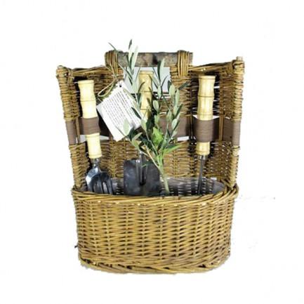 Corbeille jardin avec plante et 3 outils