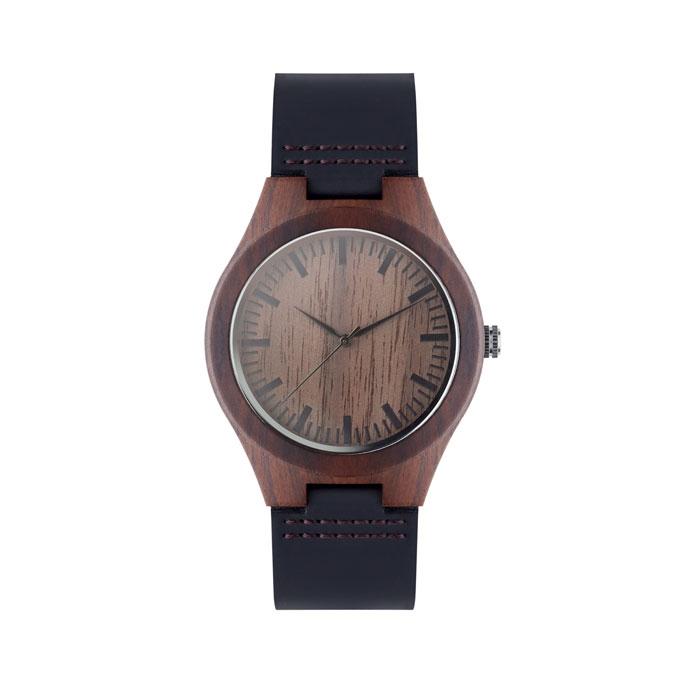 Montre publicitaire en bois et bracelet cuir Sion - cadeau d'entreprise écologique
