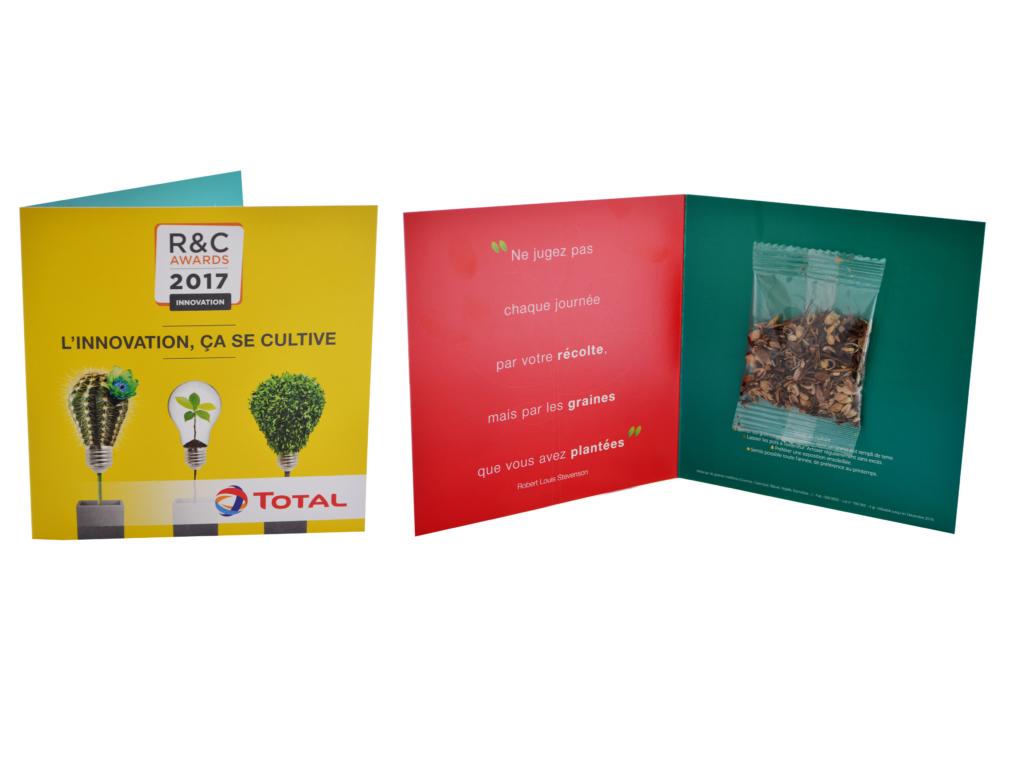 Carte 2 volets sachet de graines publicitaires - cadeau publicitaire végétal