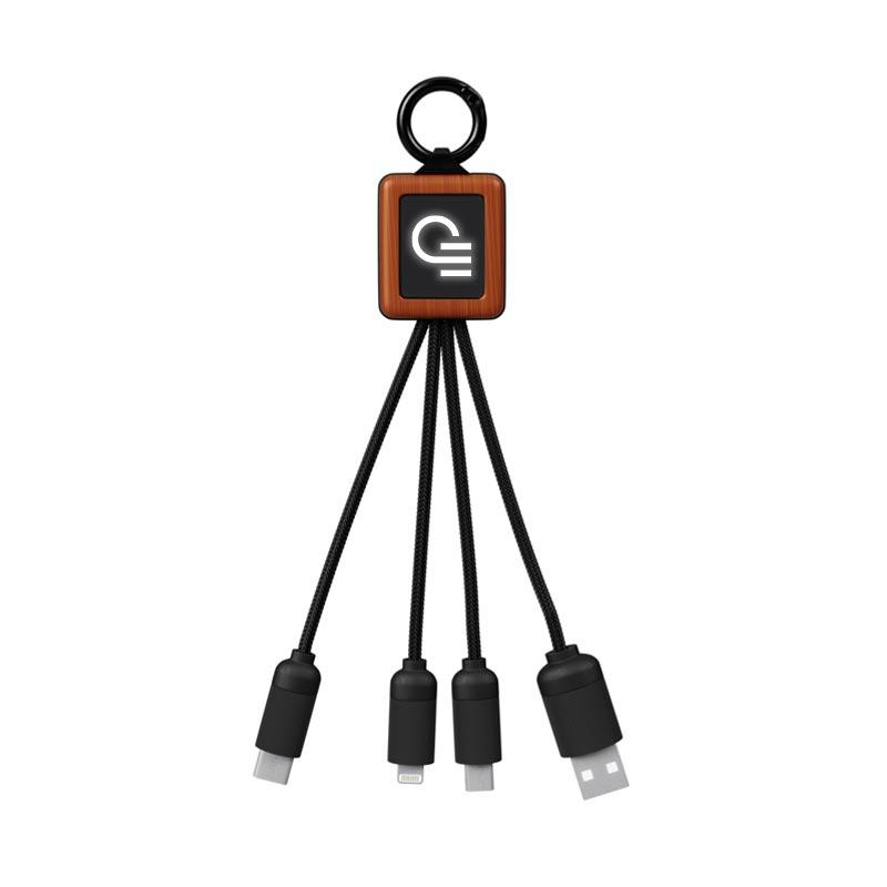 Câble de charge USB publicitaire 3 en 1 en bambou et rPET