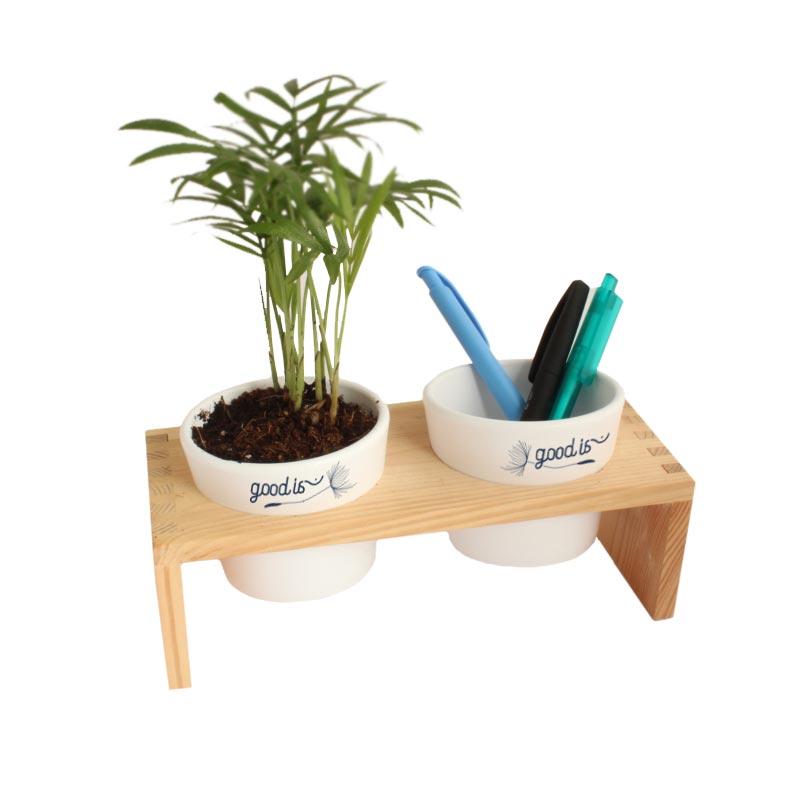 Plante dépolluante Double Pot Ceramique et bois
