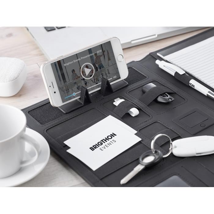 Cadeau promotionnel - Conférencier A4 personnalisé et powerbank Powerfoldy