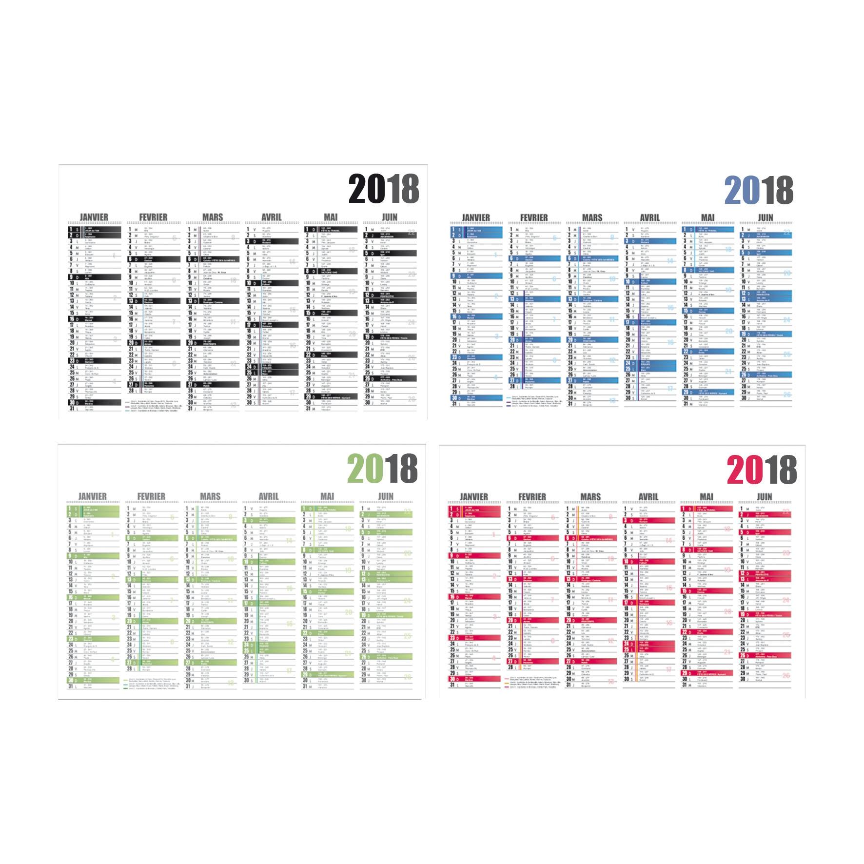 Calendrier publicitaire bancaire Cartonné Standard 2018