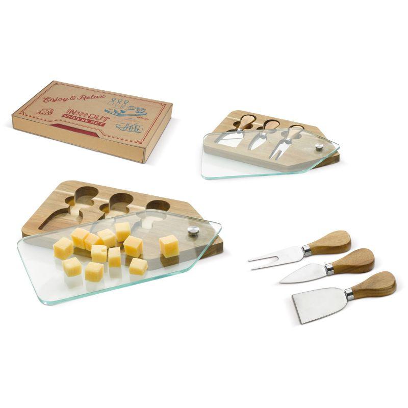 cadeau d'entreprise cuisine - set à fromage publicitaire bois Acacia