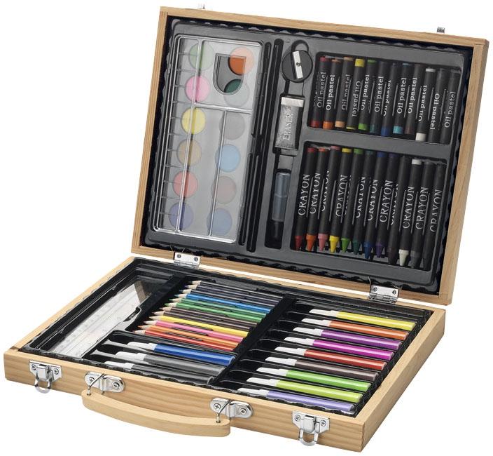 Boîte de crayons de couleur publicitaires Whiz avec feutres et peinture - cadeau publicitaire