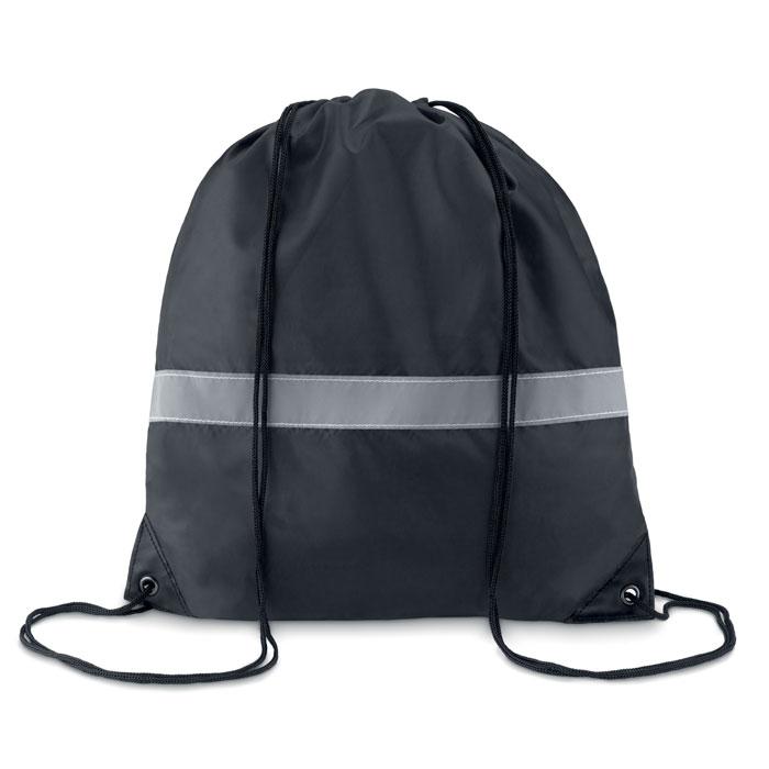 Gymbag publicitaire noir avec bandes réfléchissantes Stripe