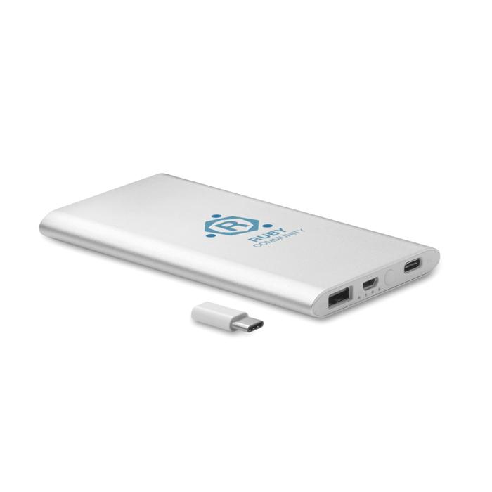 Cadeau d'entreprise - Powerbank publicitaire 4000 mAh Powerflatc
