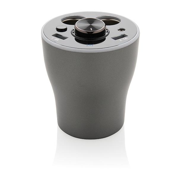 Cadeau publicitaire - Chargeur de voiture publicitaire pour porte-gobelet avec oreillette CallMe