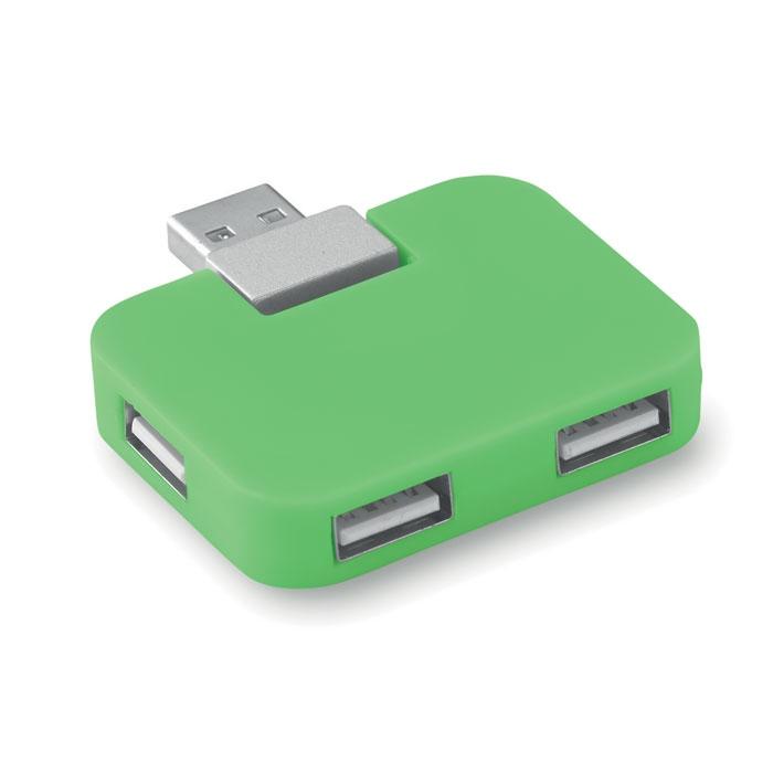 Hub publicitaire 4 ports USB square - bleu