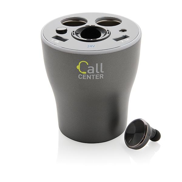 Cadeau d'entreprise - Chargeur de voiture pour porte-gobelet avec oreillette CallMe