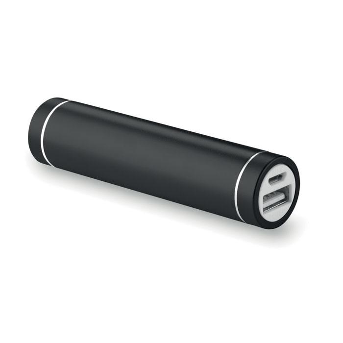 Powerbank publicitaire cylindrique Powerovale - alunimium noir