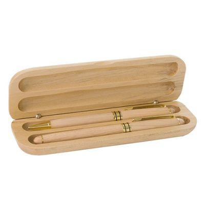 Cadeau d'entreprise - Parure bois stylo Bille publicitaire et Roller Wood