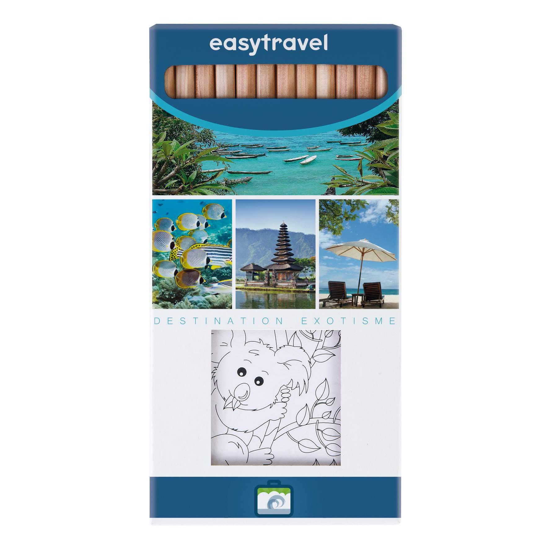 Etui kraft 12 crayons de couleur publicitaires et set à coloriage Eco