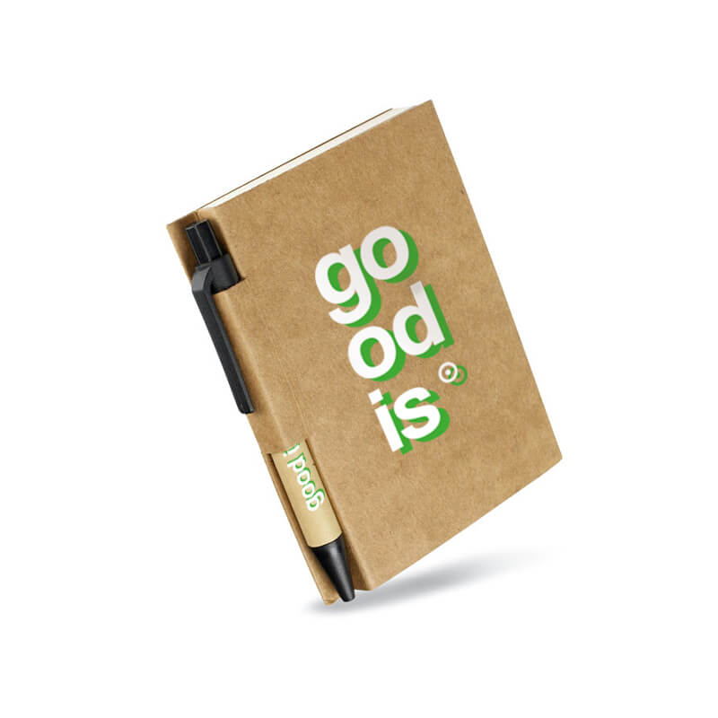 Carnet publicitaire et son stylo en carton à personnaliser