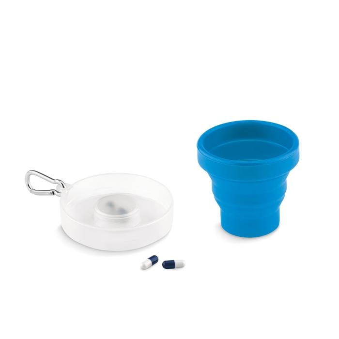 Objet publicitaire santé - Tasse pliable silicone avec pilulier Pill