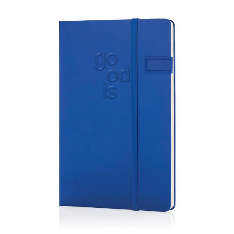Carnet de notes publicitaire A5 avec clé USB 4Go - Bleu