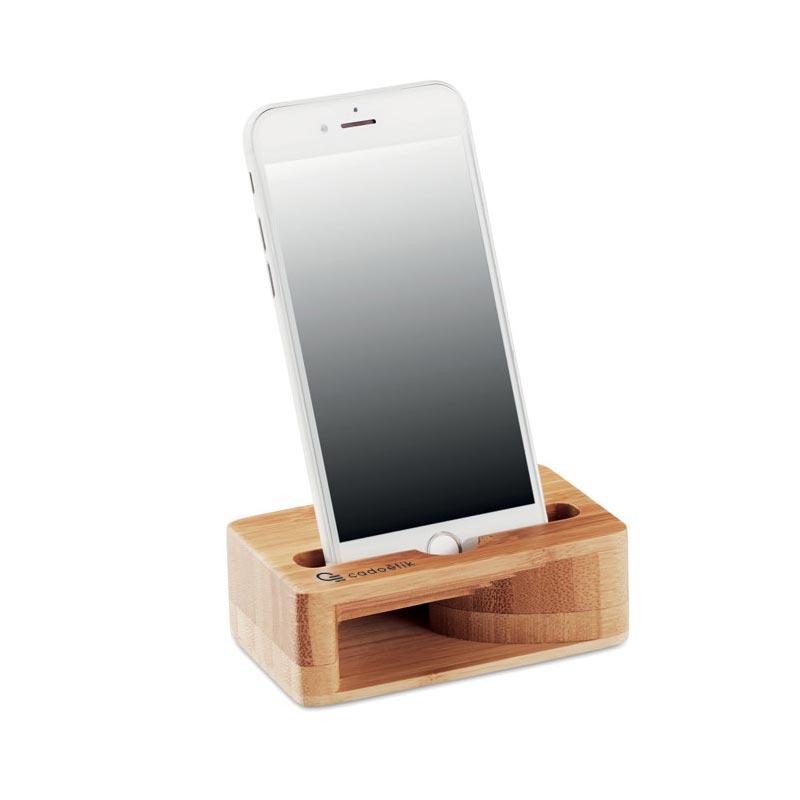 support téléphone bambou avec amplificateur son