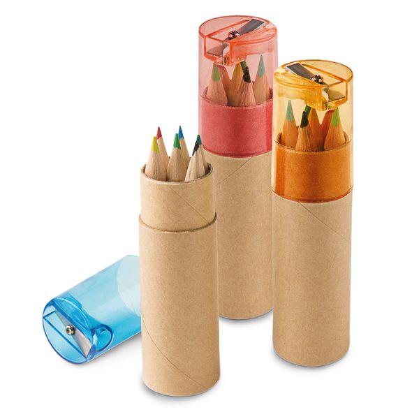 Boite de 6 crayons de couleur publicitaires écologiques Little Pablo naturel/bleu