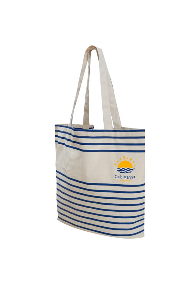 Totebag personnalisable Striped - sac shopping publicitaire à rayures grises