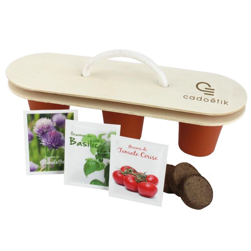 Kit de plantation publicitaire trio - cadeau publicitaire végétal