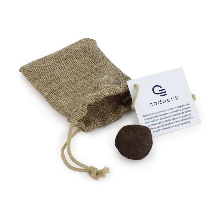 goodies graines - sachet en toile de jute avec une bombe à graines