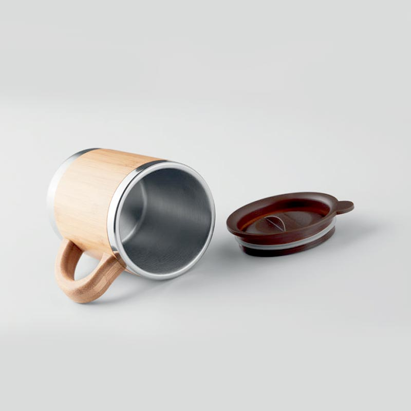 mug isotherme inox bambou avec couvercle