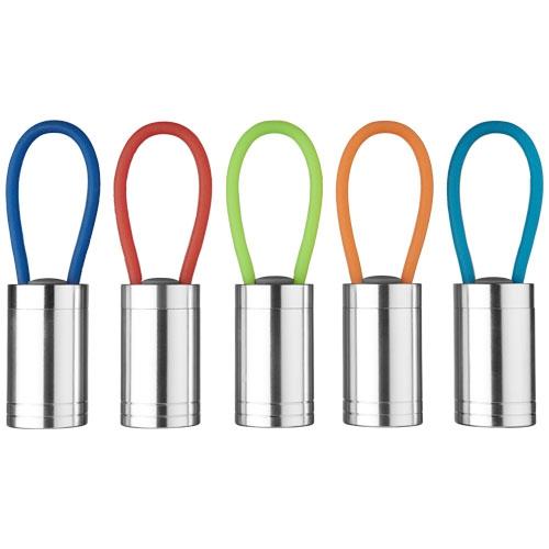 Lampe de poche publicitaire - Lampe torche publicitaire à 6 LED Vela avec dragonne lumineuse