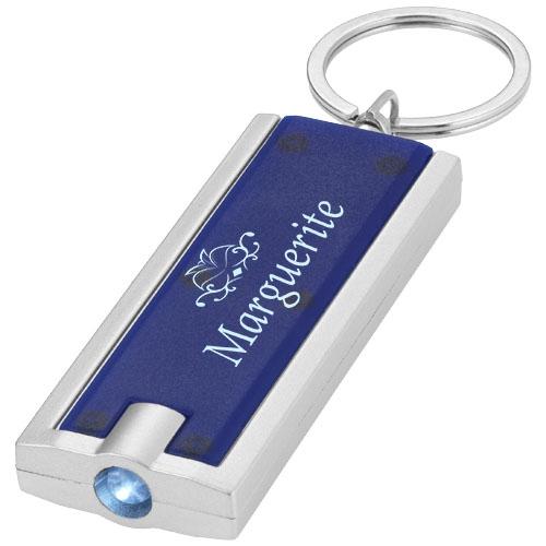 Porte-clés publicitaire avec lampe torche Castor bleu - Objet publicitaire