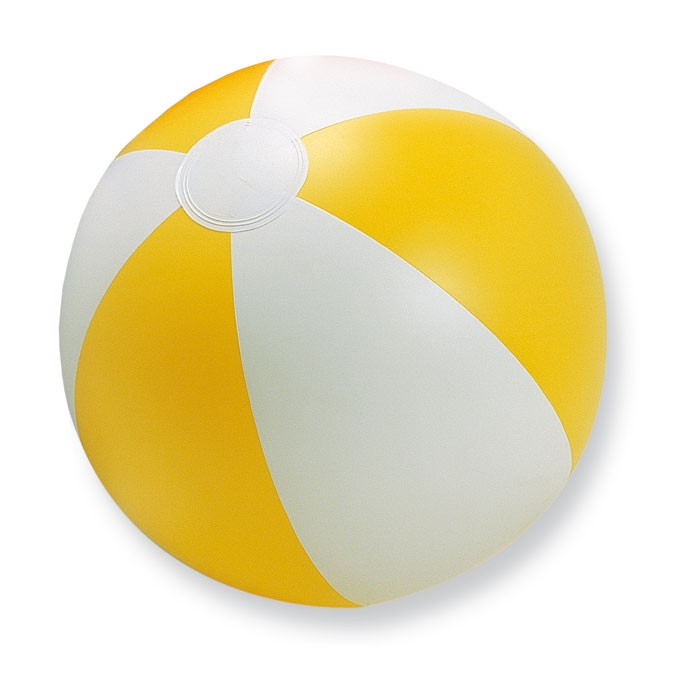 Ballon de plage promotionnel Playtime blanc/jaune - objet publicitaire