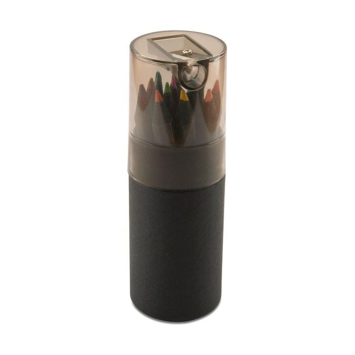 Crayons de couleur publicitaires bois noir - Objet publicitaire écologique