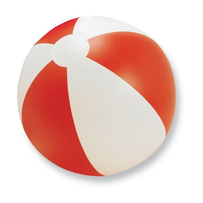 Ballon de plage personnalisable Playtime blanc/rouge - objet publicitaire