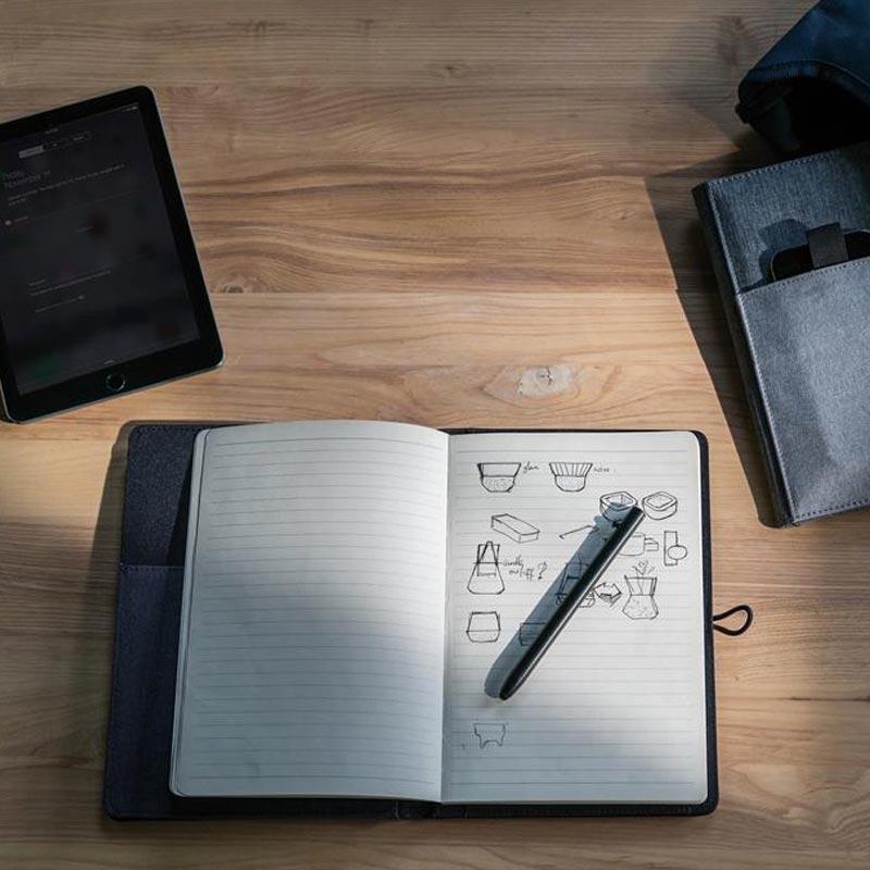 Housse avec carnet de notes publicitaire gris A5 Kyoto