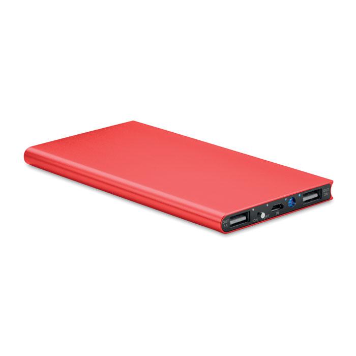 Batterie de secours publicitaire rouge 8000mAh Powerflat8