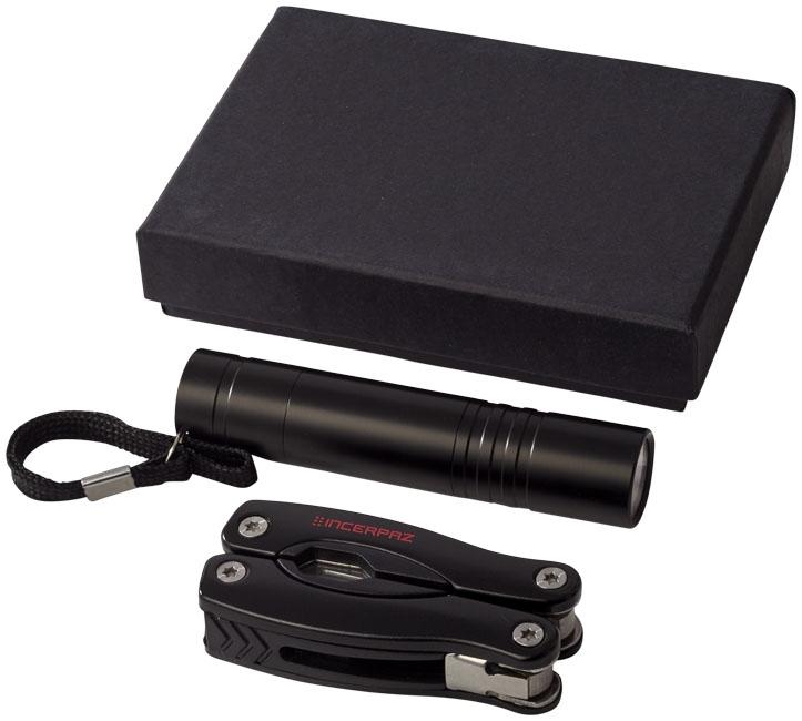 Coffret publicitaire couteau et lampe LED Éclaireur noir