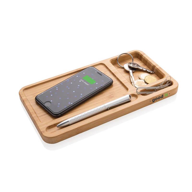 Chargeur publicitaire - Organiseur de bureau avec chargeur induction 5W Woodly