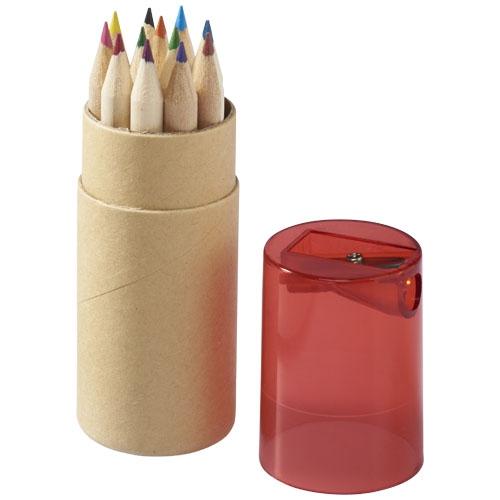 Objet publicitaire - Set de 12 crayons de couleur Joan