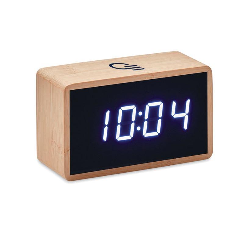 réveil publicitaire en bambou miri clock