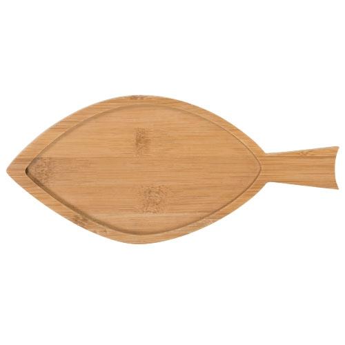 Cadeau publicitaire - Plateau en bambou personnalisé poisson Amuse 2 pièces