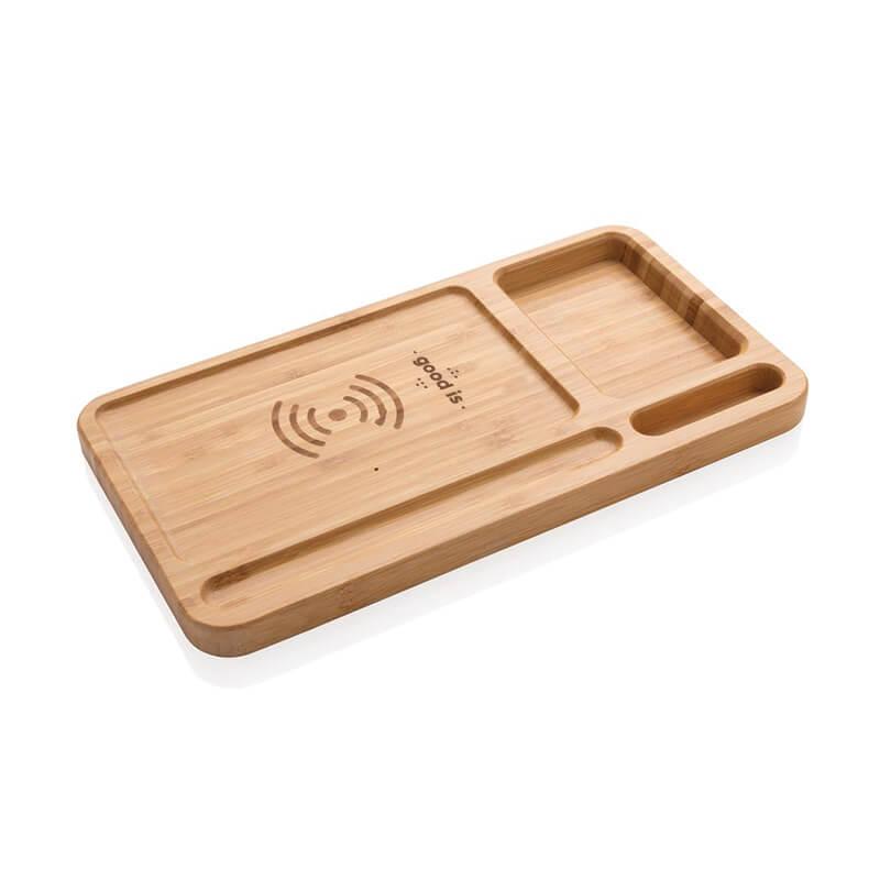 Goodies high-tech - Organiseur de bureau avec chargeur induction 5W Woodly