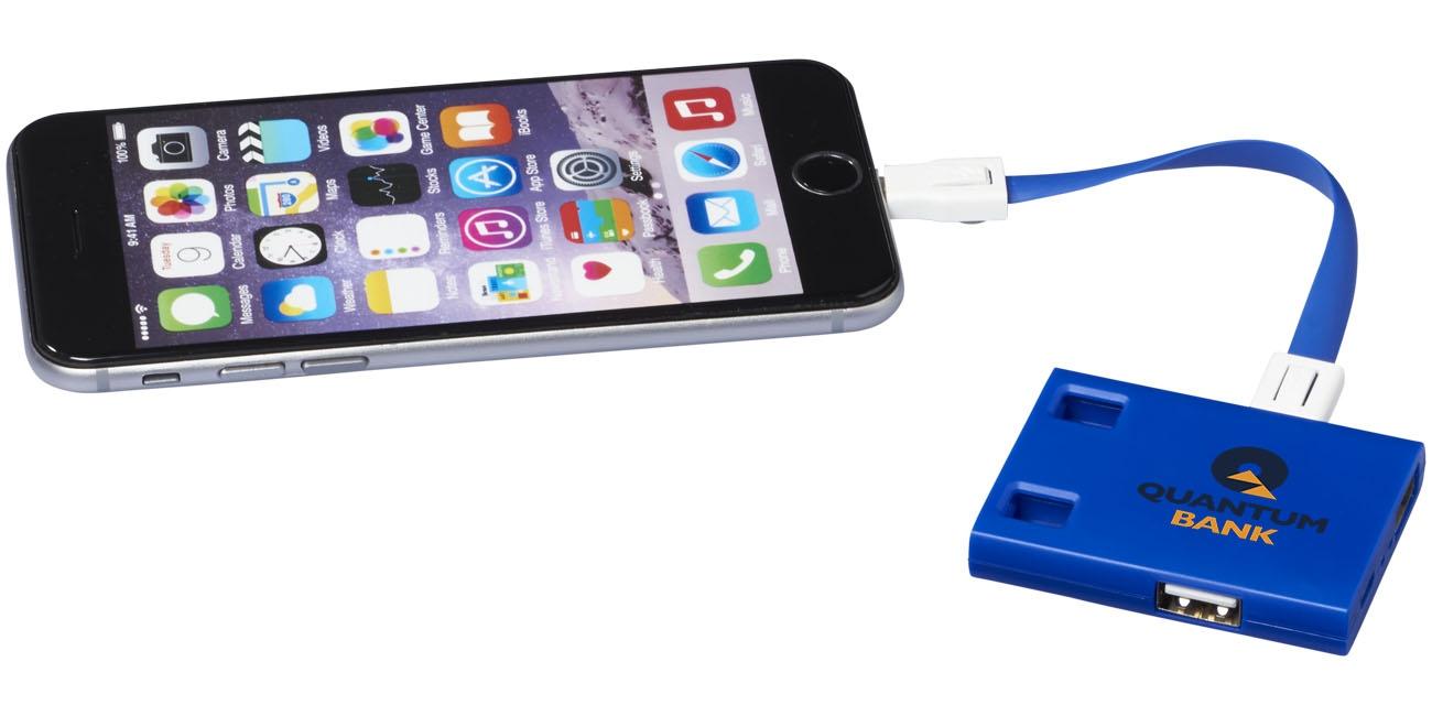 Hub publicitaire USB avec cables 3 en 1 Skilled bleu