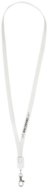 Câble de chargement personnalisé 2 en 1 avec clip Collar blanc